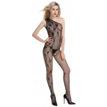 Catsuit Asimetric Crotchless Negru OS JGF Lingerie