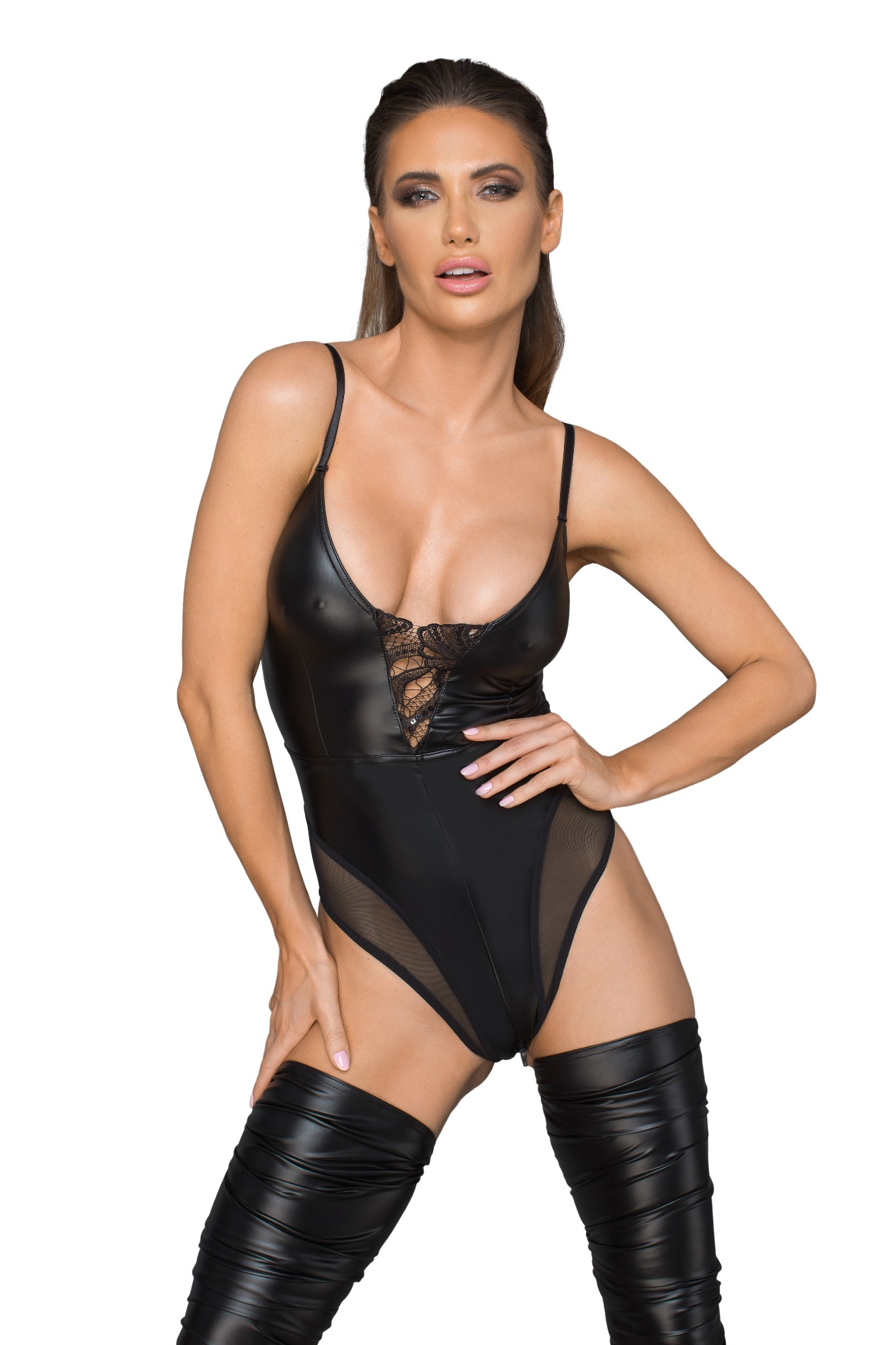 Body Sexy Crotchless Material Wetlook si Tul cu Broderie M